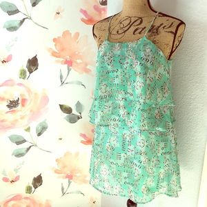 Mint green tiered ruffle dress